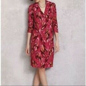 J. Jill Wrap Style Dress with Pink and Red Pattern